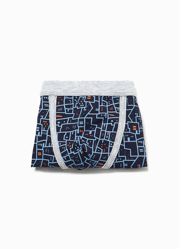 Patterned boxers in stretch cotton