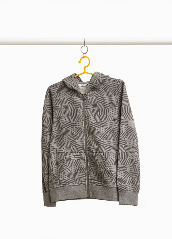 Sweatshirt in cotton blend with geometric print