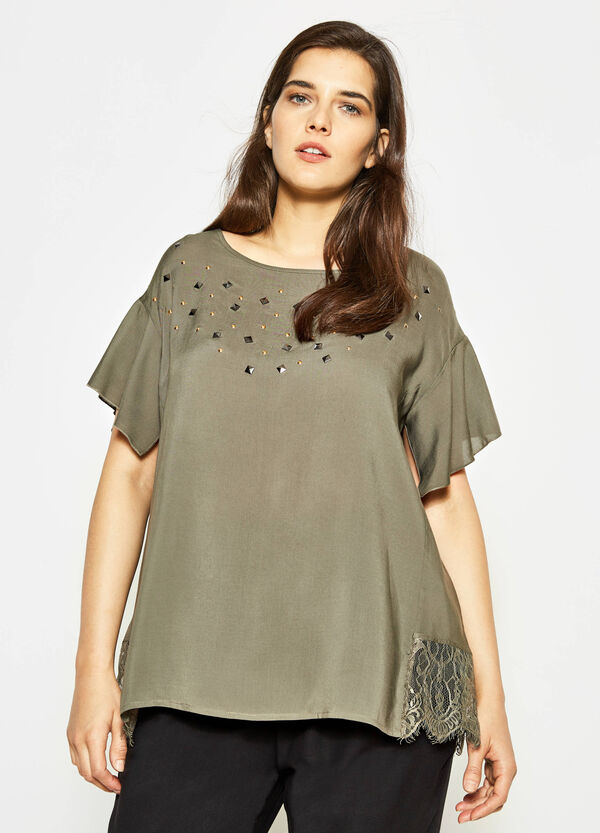 Curvy blouse with lace and studs   OVS
