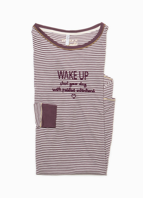 Striped nightshirt with lettering print