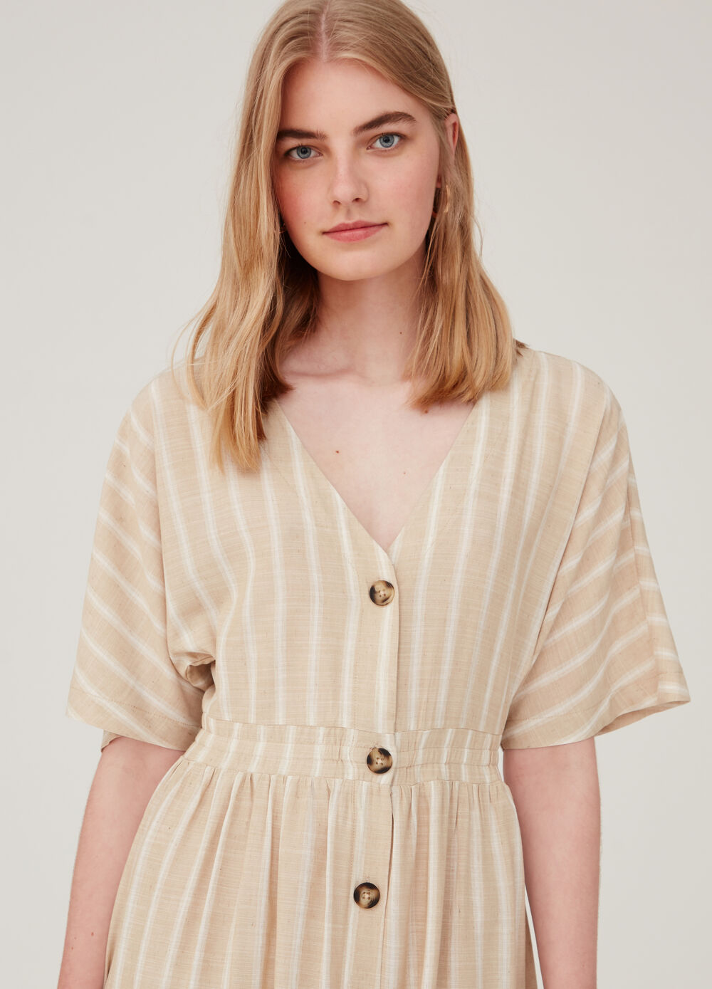 Viscose and linen dress with striped buttons