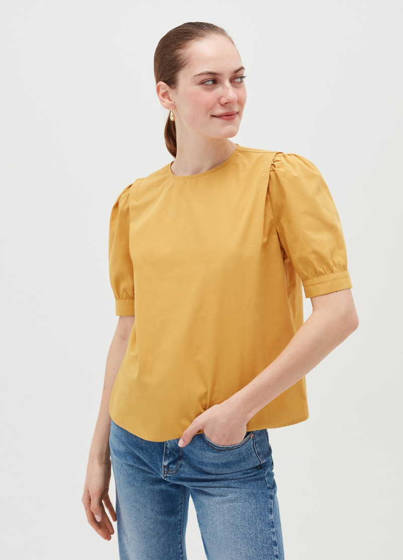 Cotton blouse with puff sleeves image number null