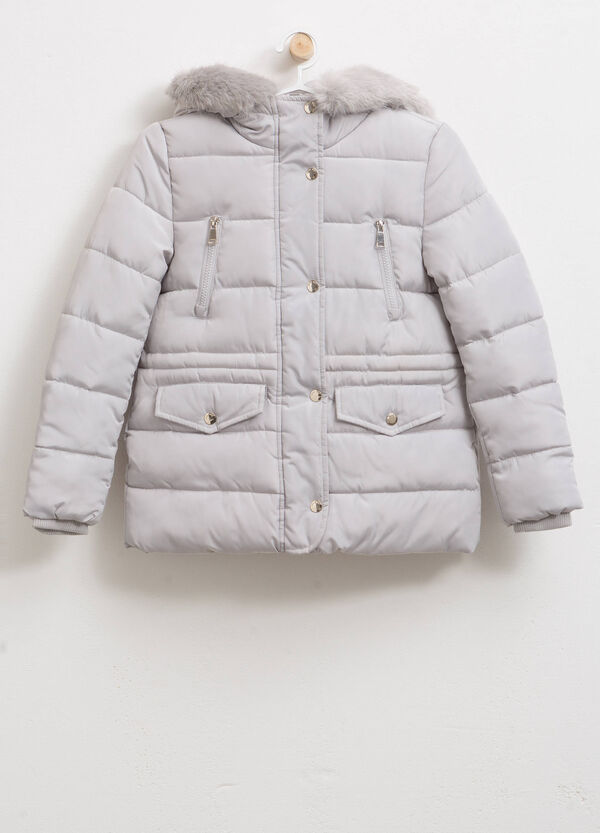 Cotton blend down jacket with hood