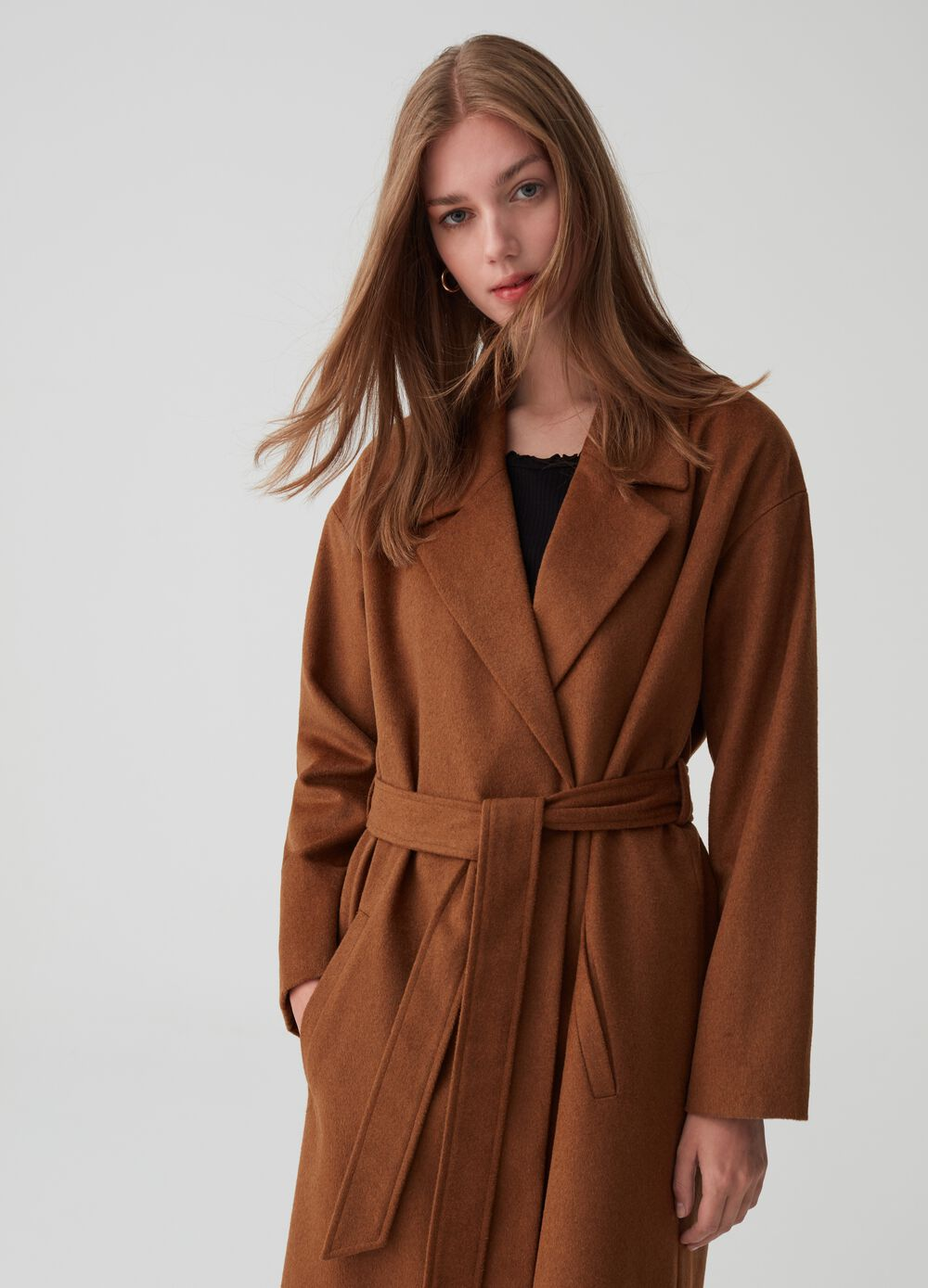 Wool blend coat with belt