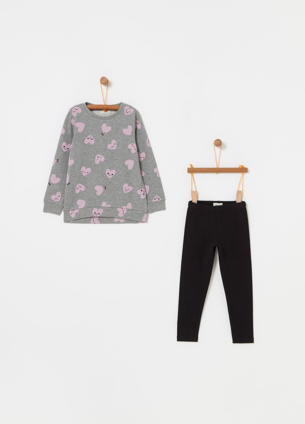 Patterned sweatshirt and leggings jogging set