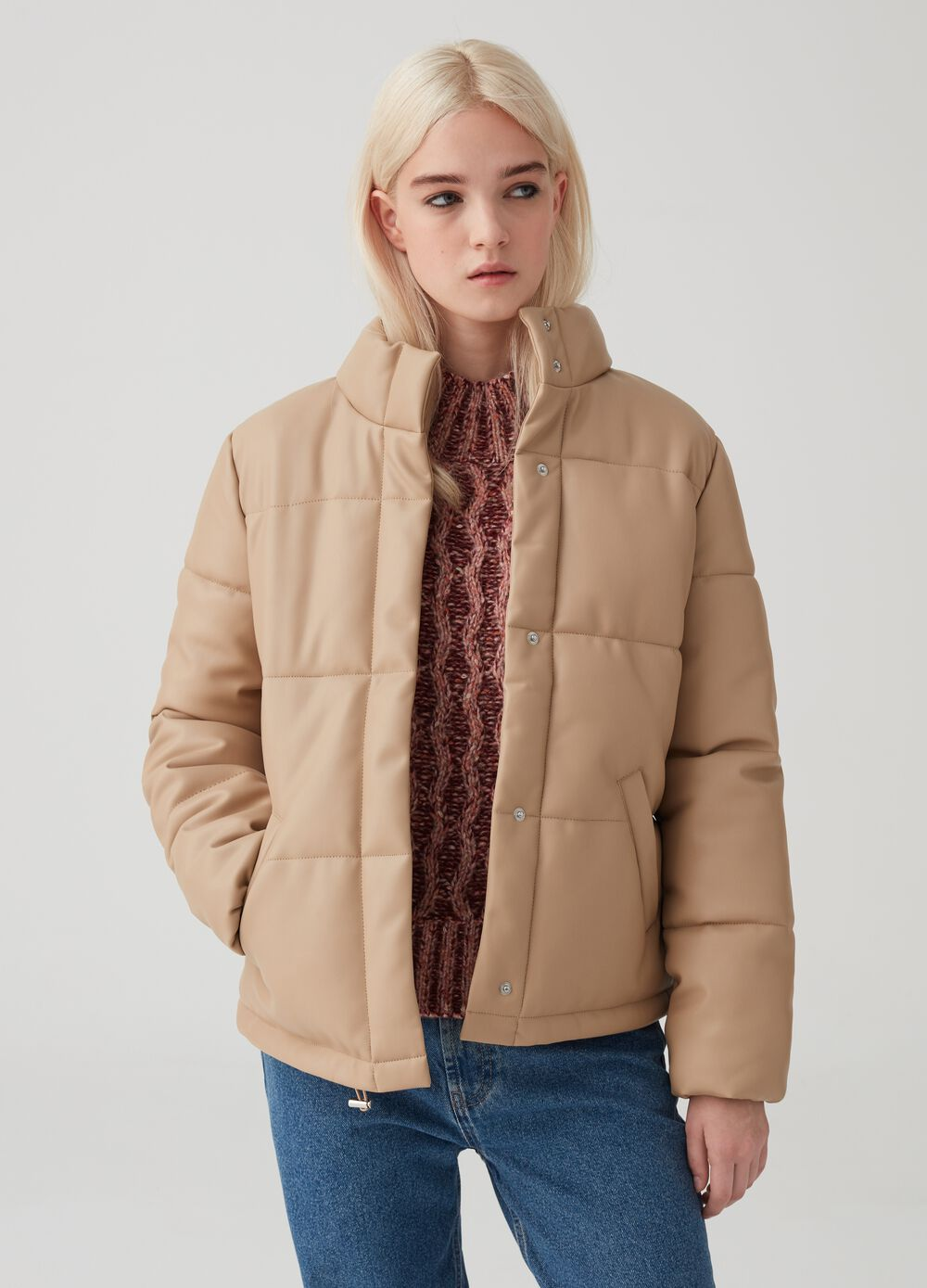Solid colour padded and quilted jacket