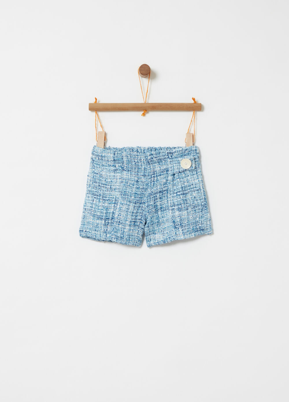 Tweed-effect shorts with decorative button