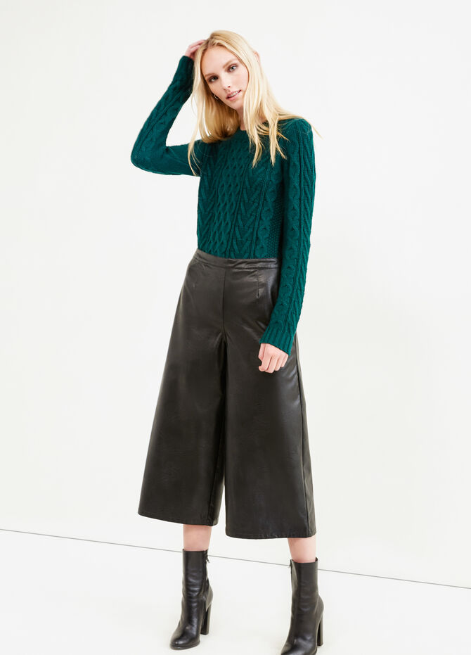 Leather look gaucho trousers