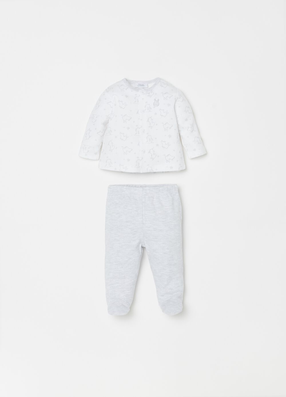 T-shirt and trousers set in 100% cotton with embroidery