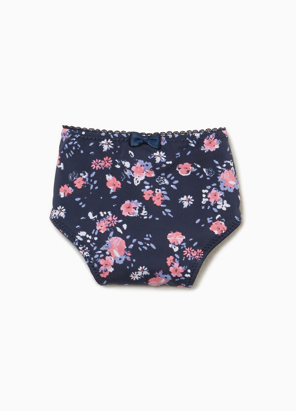 Stretch thong with floral pattern