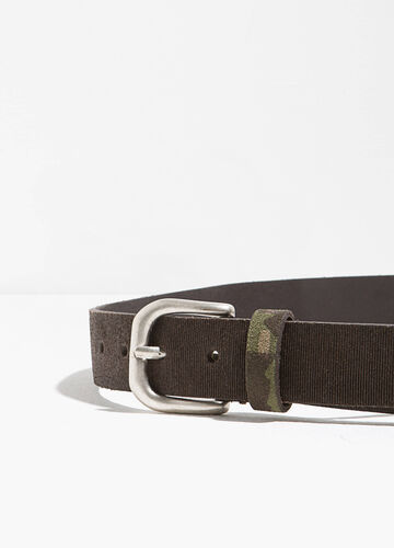 Striped genuine leather belt