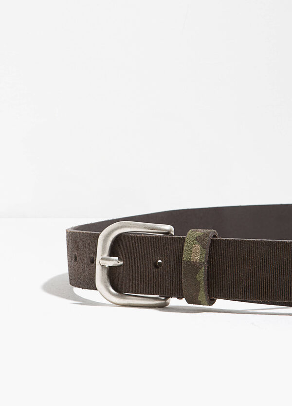 Striped genuine leather belt | OVS