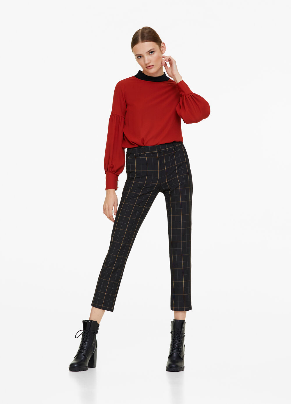 Chino trousers with check pattern