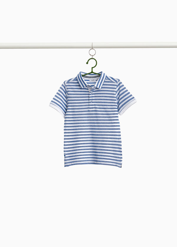 Striped polo shirt in 100% cotton