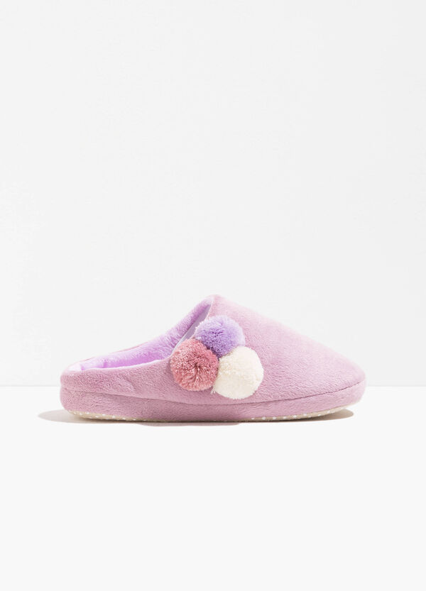 Fur slippers with pompoms | OVS