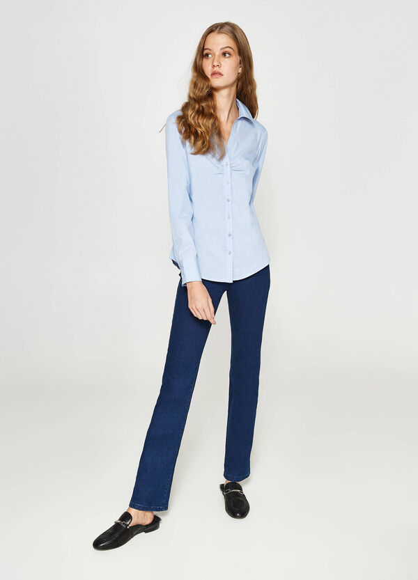 Shirt with bluff collar and V-neck | OVS