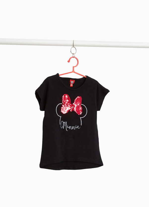 Stretch T-shirt with Minnie Mouse and sequins
