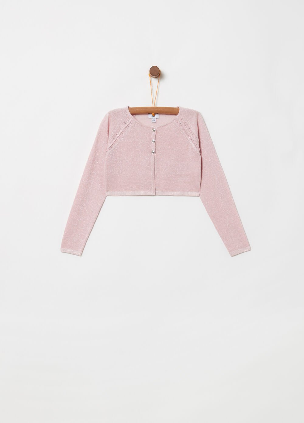 Crop cardigan with knitted lurex and ribbing