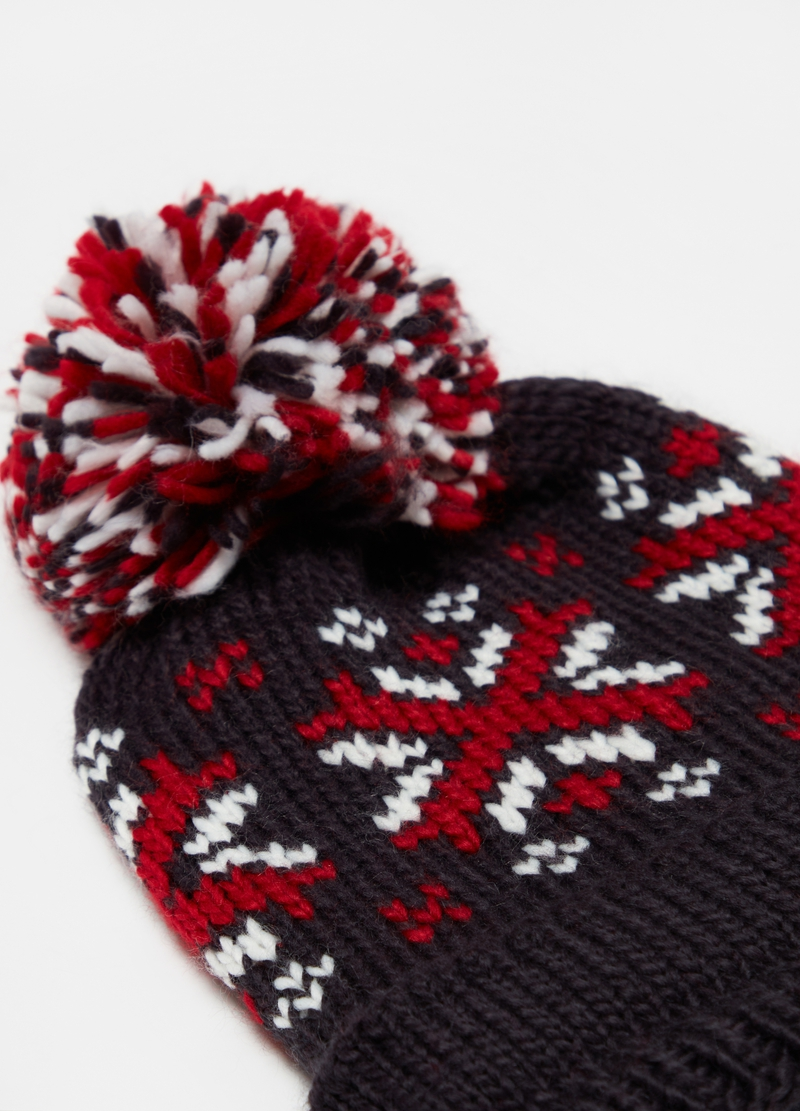 Jacquard hat with pompom image number null
