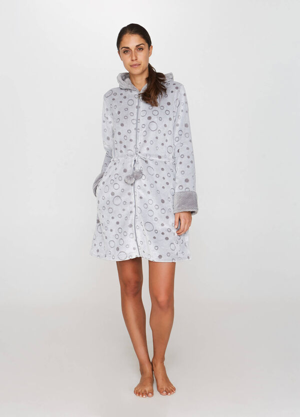 Faux fur dressing gown with polka dot weave | OVS