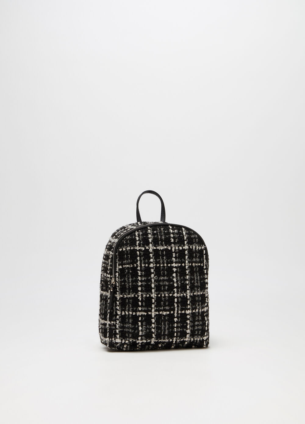 Two-tone tweed backpack