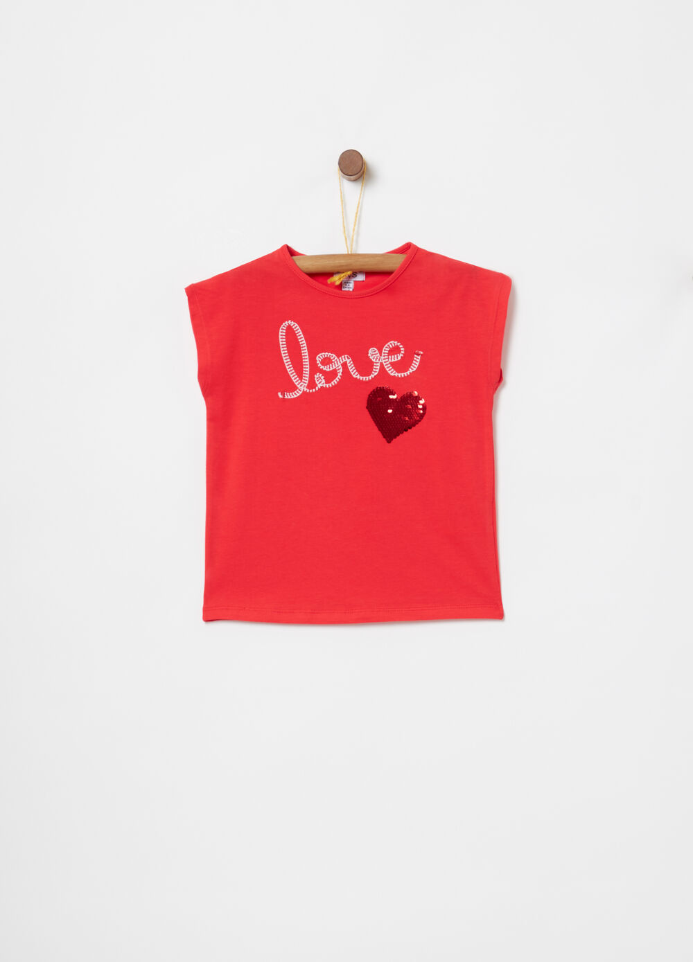 Jersey T-shirt with ribbon and sequins