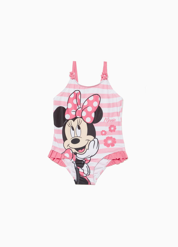 Stretch Minnie Mouse one-piece swimsuit with flounce