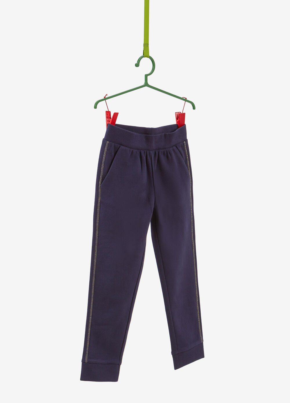 Cotton joggers with contrasting colour stitching