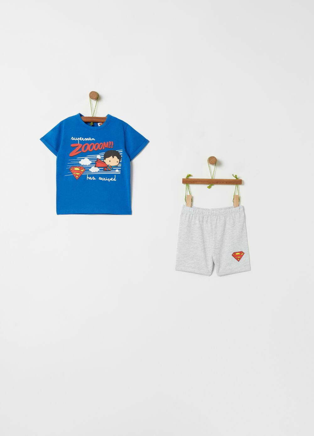 Short Superman pyjamas in organic cotton