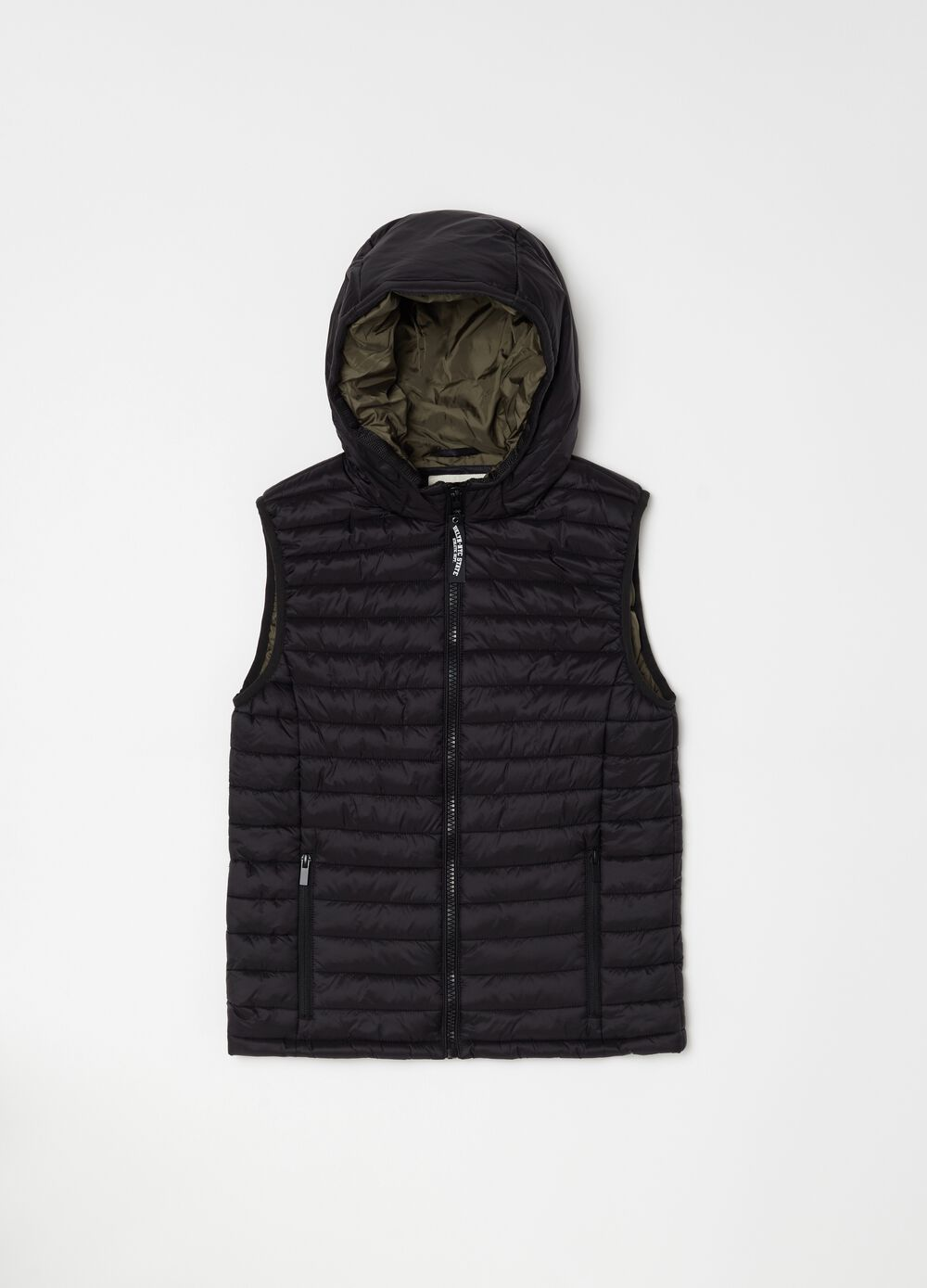 Quilted and padded gilet with hood