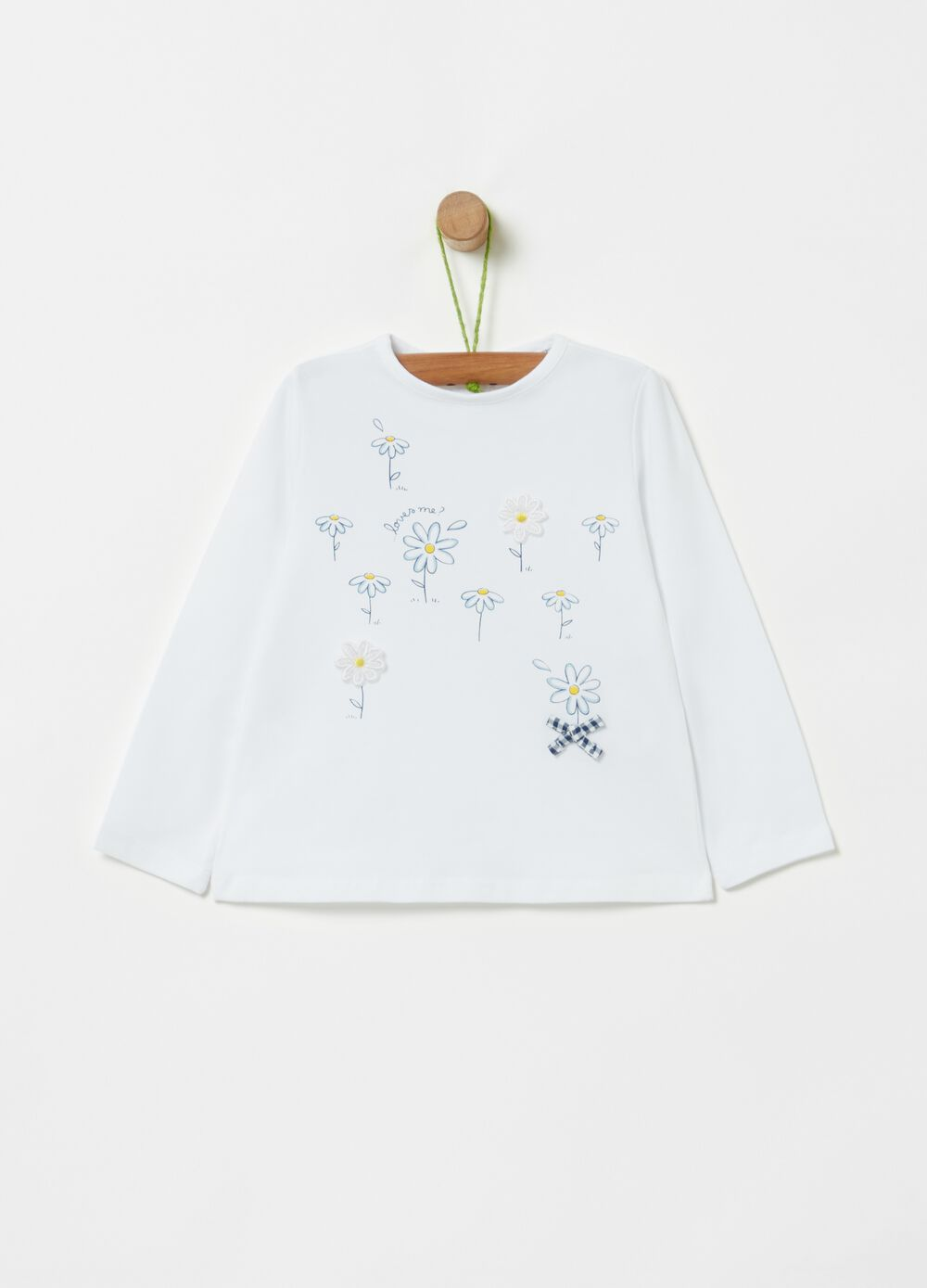 Organic cotton T-shirt with daisies