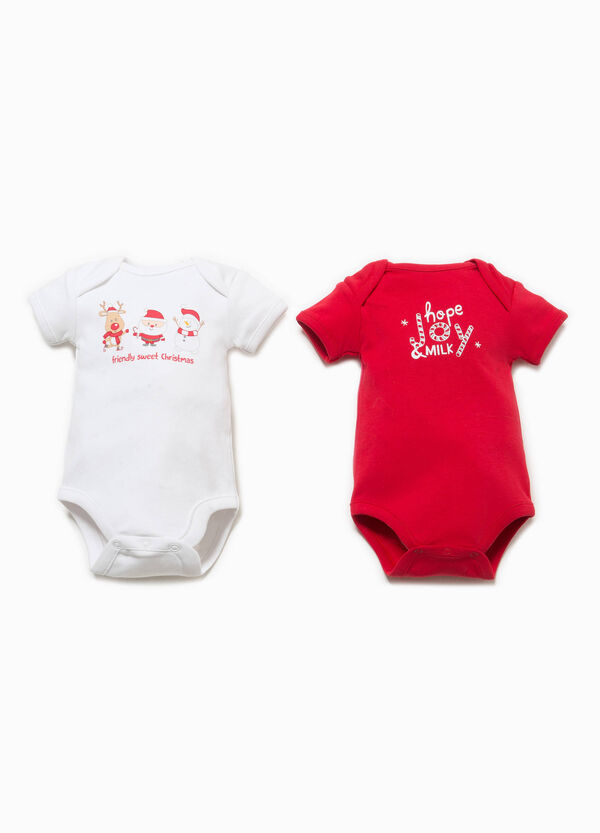 Two-pack bodysuits in 100% cotton with Christmas motif
