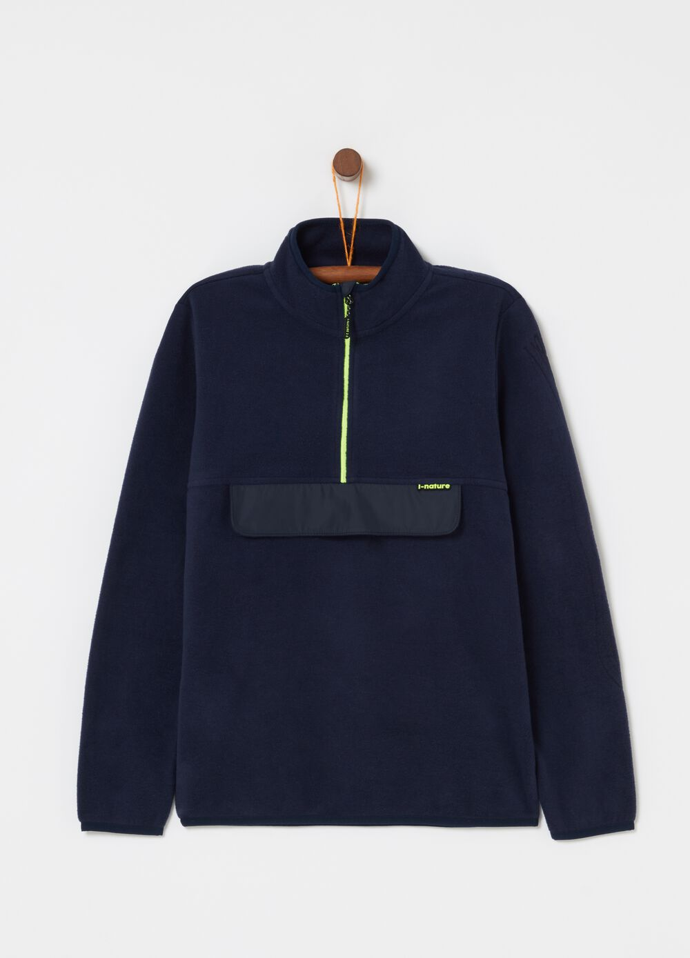 Sustainable fleece sweatshirt with false pocket