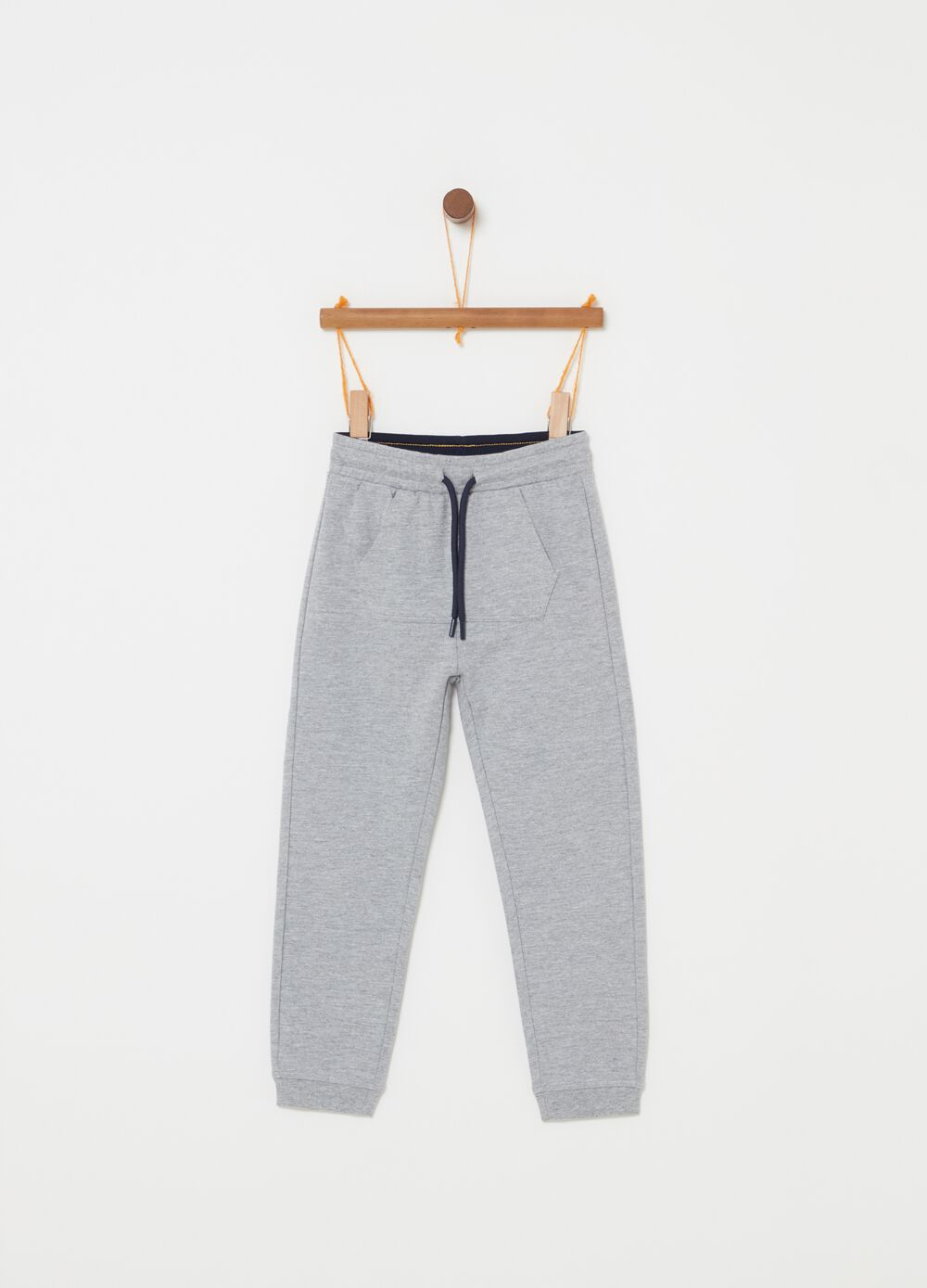 French terry mélange trousers with pocket