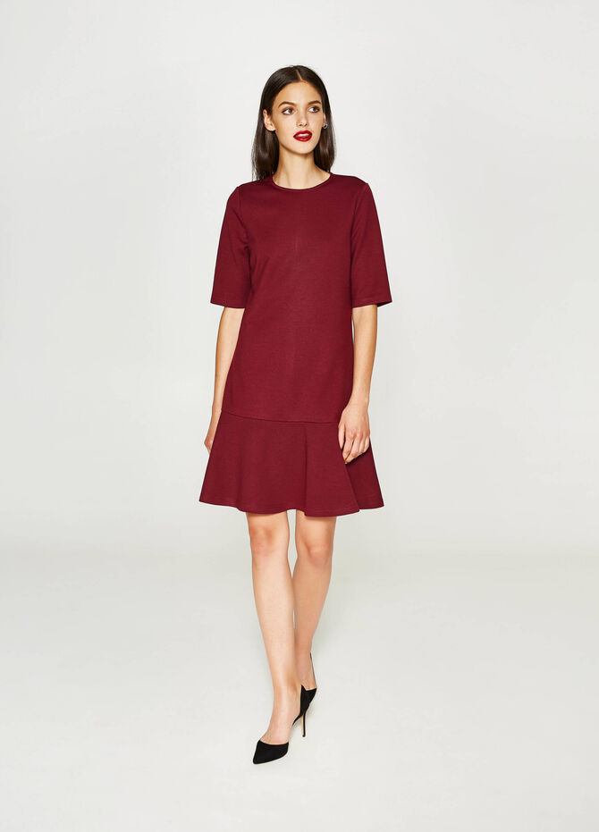 Solid colour stretch viscose dress