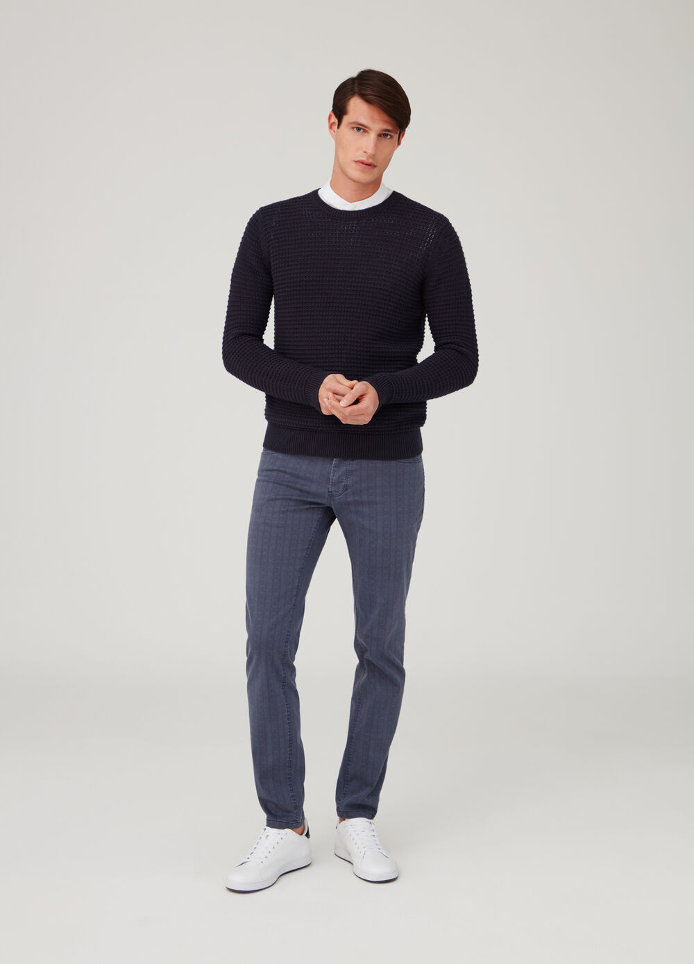 Slim-fit check chino trousers