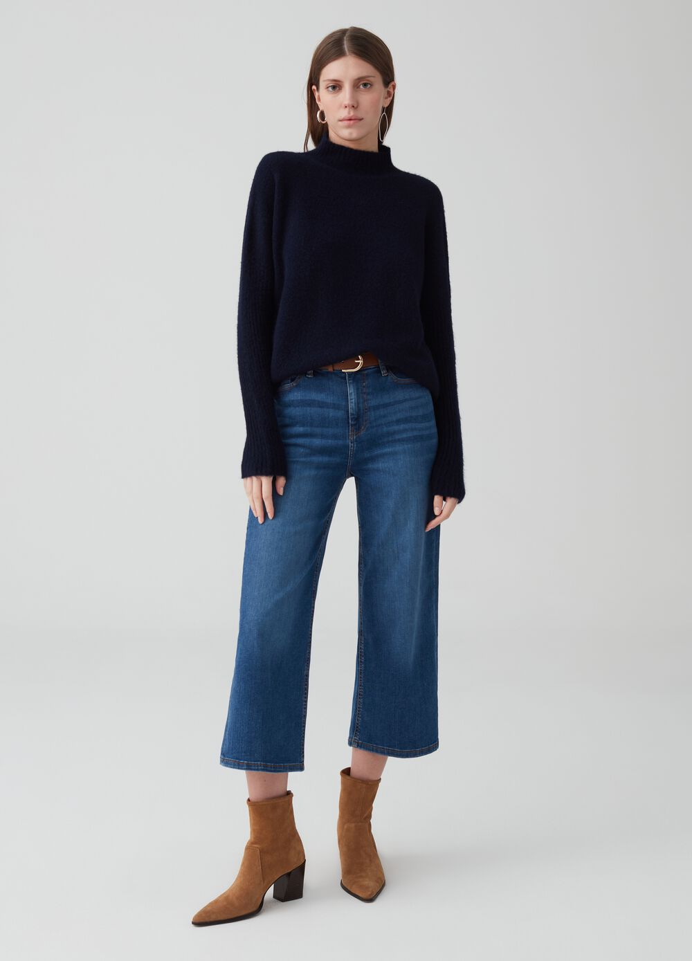 Wide-leg crop jeans with five pockets