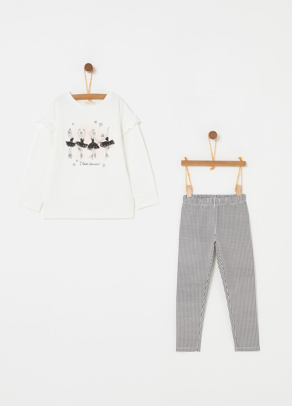 Jogging set with hounds' tooth leggings