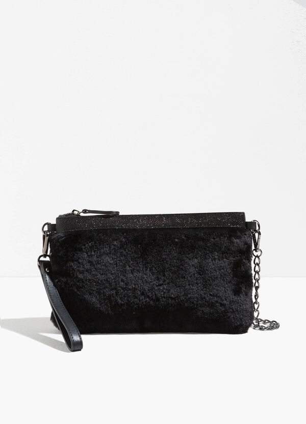 Fur clutch bag with glitter trim | OVS
