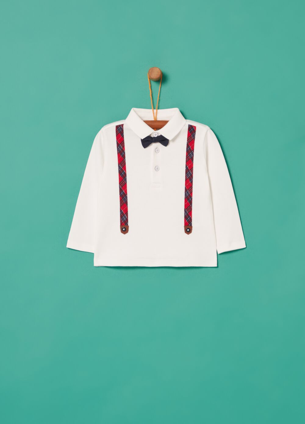 100% organic cotton polo shirt with braces and bow tie