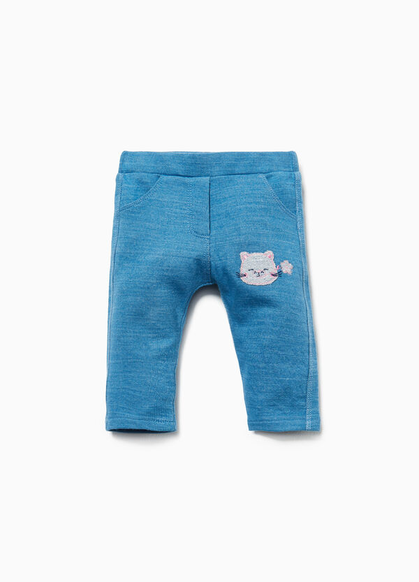 Trousers in 100% cotton with kitten patch