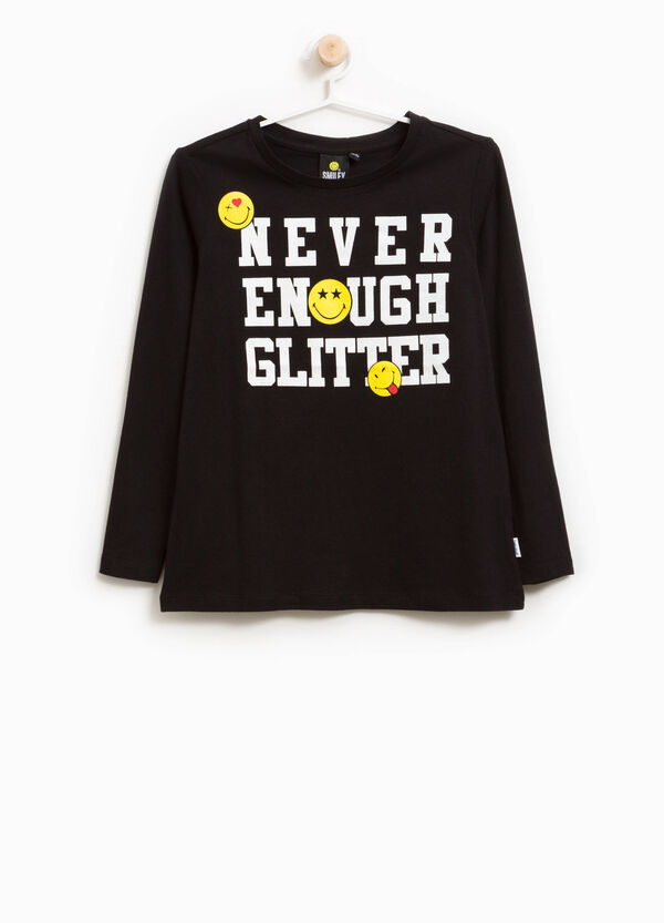 Cotton T-shirt with smile and lettering print