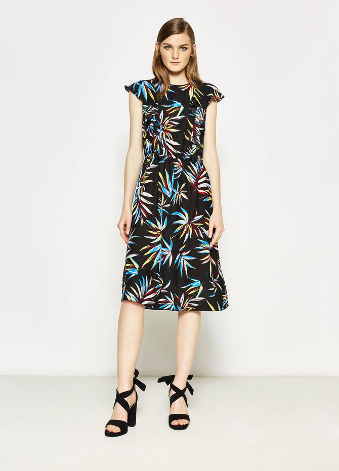 Longuette dress in floral viscose