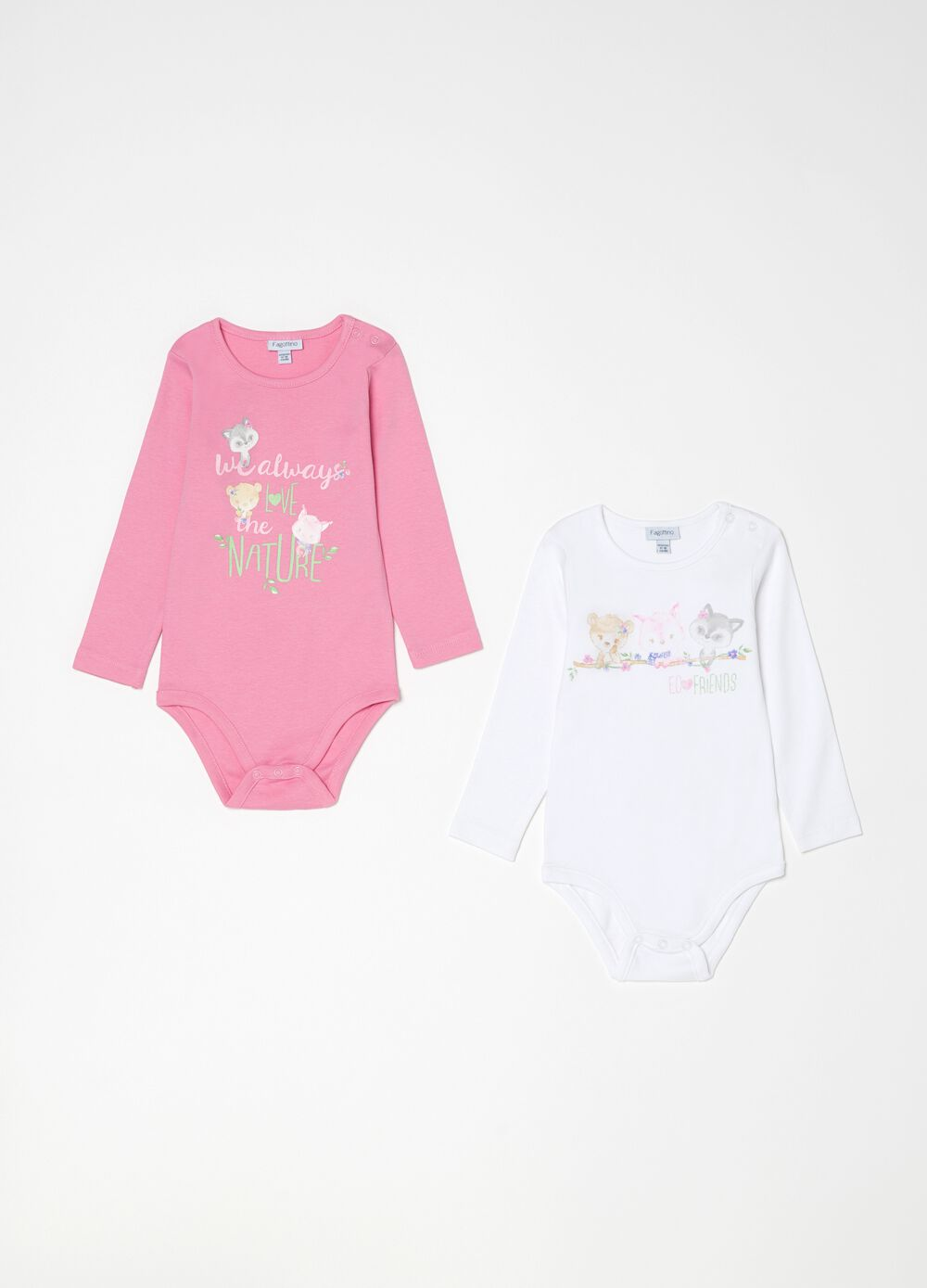 Two-pack 100% organic cotton bodysuits with print