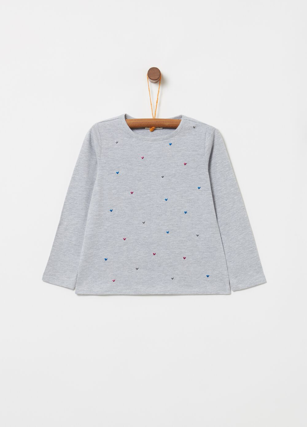 Stretch mélange T-shirt with small hearts