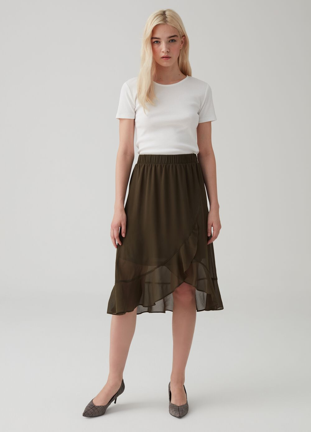 Skirt with high waist and flounce