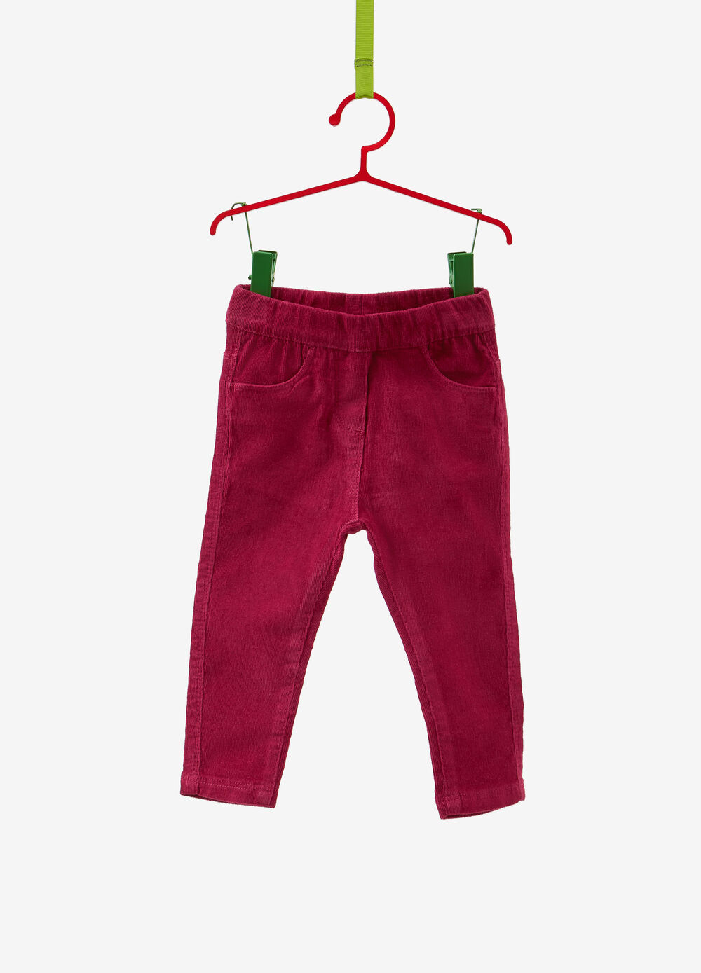 Stretch cotton trousers with elasticated waistband