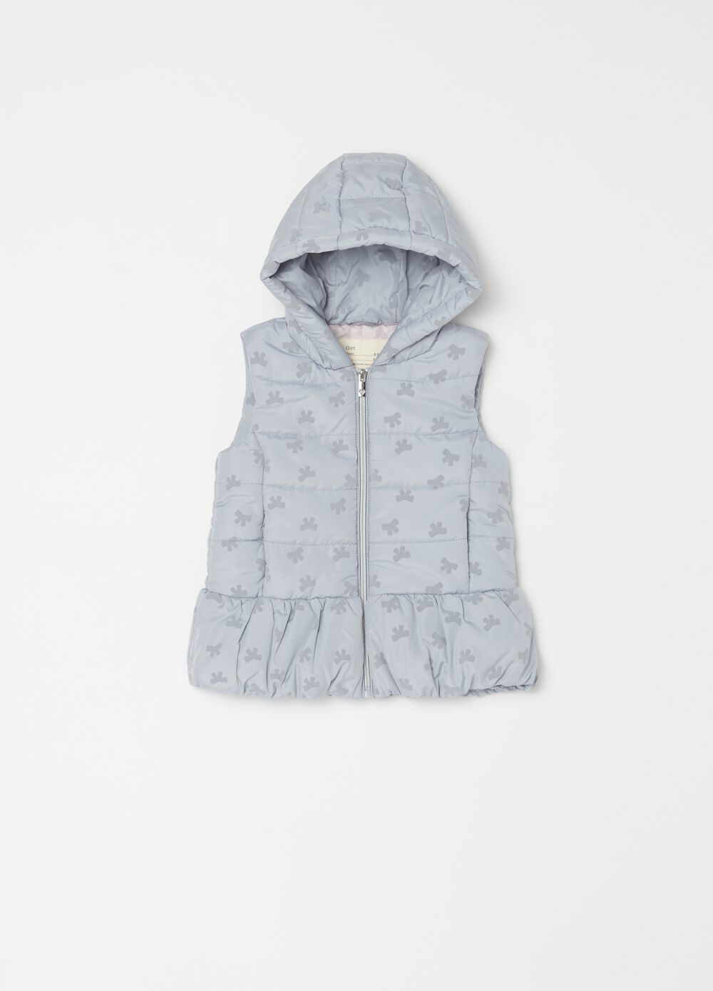 Padded gilet with bow print