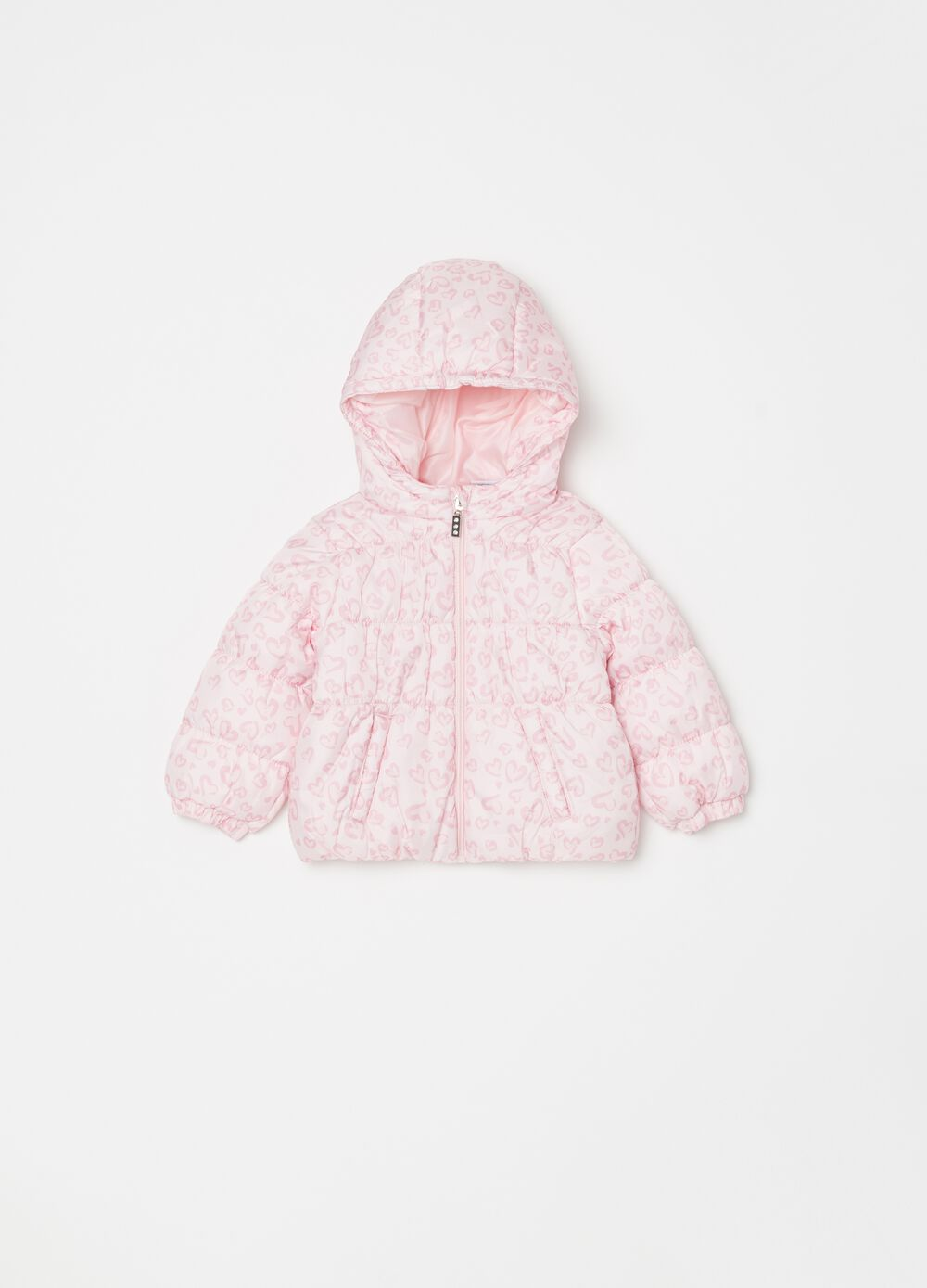Padded jacket with hearts