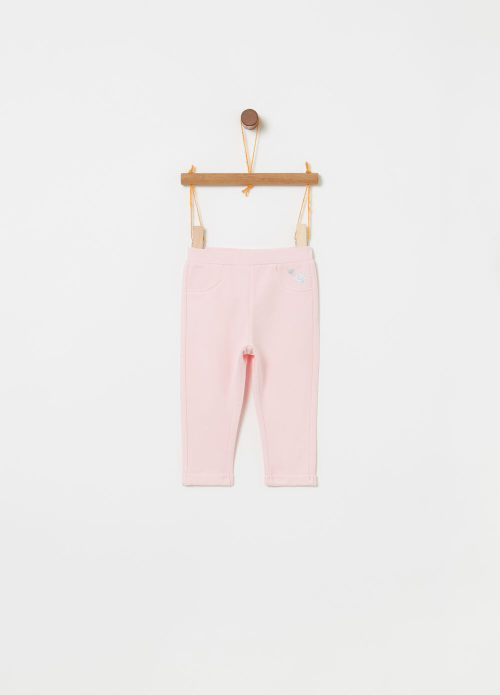 Trousers with elasticated waist and glitter hearts